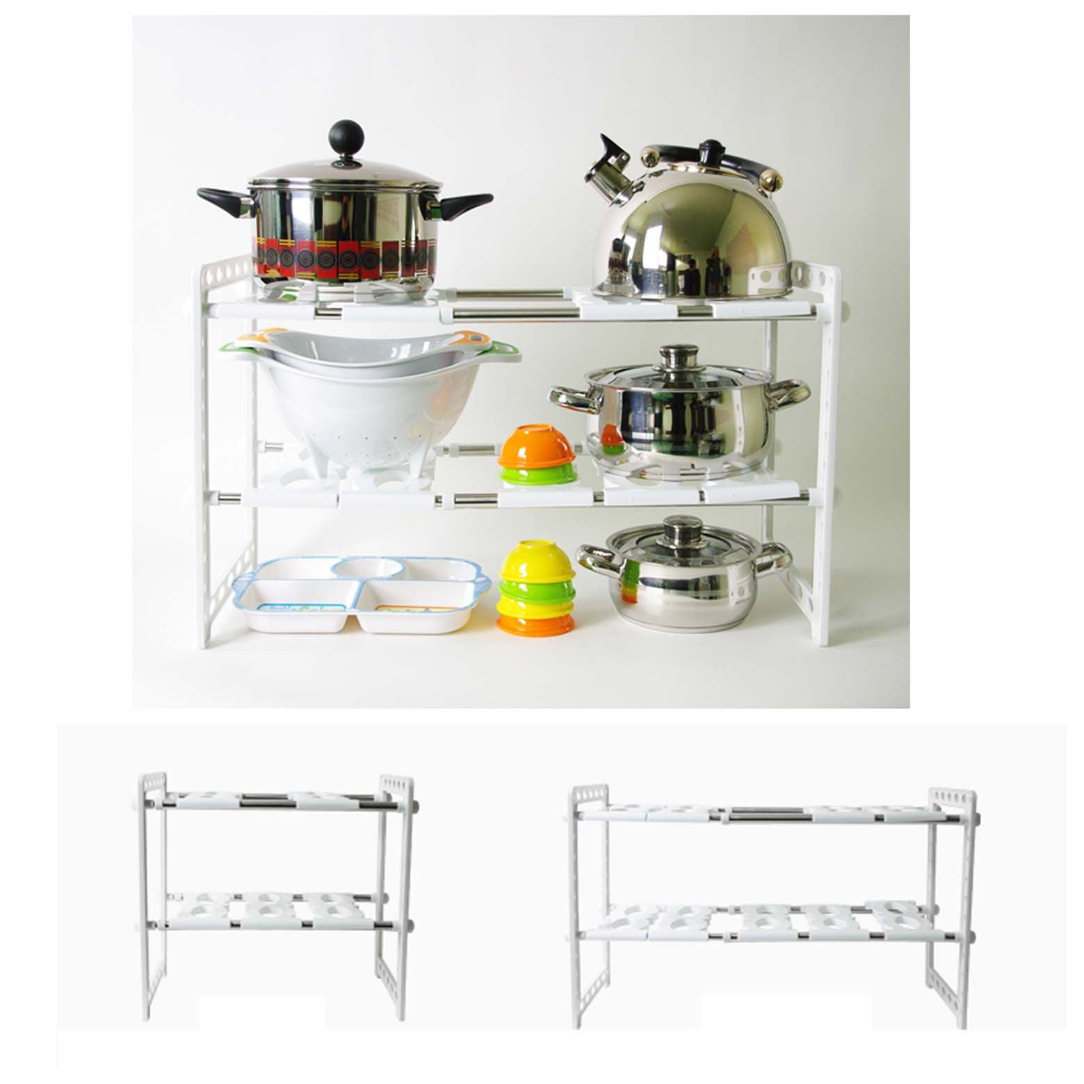 Extendable under sink customize shelf kitchen organize for Kitchen colors with white cabinets with candle holder ebay