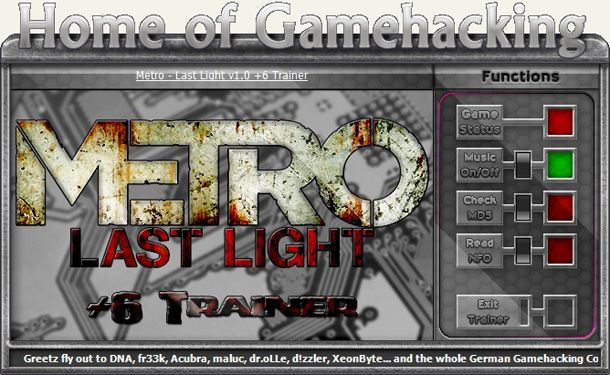 Metro: Last Light 1.0.0.3 (Update 3) +6 Trainer [HoG]