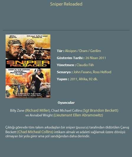 Keskin Nişancı: Ölümcül Hedef (Sniper: Reloaded) - 2011 Türkçe Dublaj BRRip indir