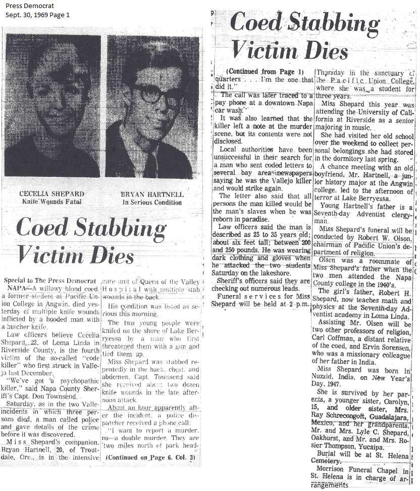 Santa Rosa Press Democrat Sept. 29, 1969 - Zodiackiller ...